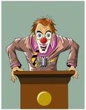 Lustiger verrückter Clown steht für das Podium Lizenzfreies Stockfoto