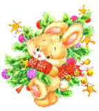 Lustiger Weihnachten-bunnand Weihnachtsbaum Abbildung für Weihnachten und neues Jahr Aquarell illustra vektor abbildung