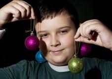 Lustiger Weihnachtsjunge Stockbilder
