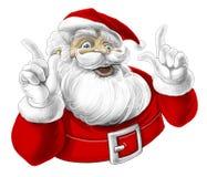 Lustiger Weihnachtsmann, der, lachend singt Stockfotografie