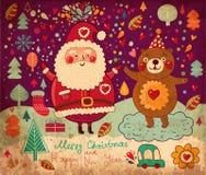 Lustiger Weihnachtsmann und sein Freund vektor abbildung