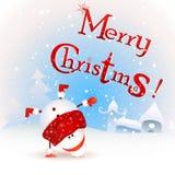 lustiger Weihnachtsschneemann, der umgedreht steht Frohe Weihnachten! Weinleseweihnachtsgrußkarte Lizenzfreies Stockbild