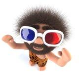 lustiger wilder Charakter des Höhlenbewohners 3d, der an einen Film mit Gläsern 3d aufpasst Stockbild