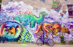 Lustiger Zoo Straßenkunst Montreals Stockfotos
