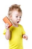 Lustiges überraschtes Baby lokalisiert Lizenzfreie Stockfotografie