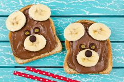 Lustiges Bärngesichtssandwich für Kindersnack-food lizenzfreies stockbild
