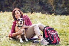 Lustiges Bild der tragenden Sonnenbrille eines Spürhunds während auf der Bergwanderung Lizenzfreie Stockfotografie