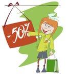 Lustiges Bild eines Einkaufenmädchens Stockfotos