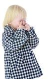 Lustiges blondes Gestikulieren des kleinen Mädchens Lizenzfreie Stockbilder