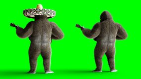Lustiges braunes Gorillaspiel die Gitarre Super realistischer Pelz und Haar grüne Animation des Schirmes 4k stock abbildung