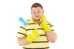 Lustiges cleanner mit Ausrüstung Lizenzfreies Stockbild