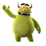 Lustiges 3D Monster, fröhliche Karikatur lokalisiert auf weißem Hintergrund Stockbild