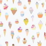 Lustiges Design des nahtlosen Musters der Eiscreme Stockfotografie