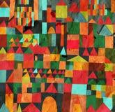 Lustiges Design des Stadtnahtlosen Musters auf Papier Stockfotografie