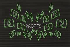 Lustiges Design mit Geldexplosion Stockfoto