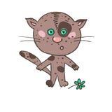 Lustiges erschrockenes beschmutztes Kätzchen Stockfoto