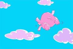 Lustiges Fliegen des rosa Elefanten der Karikatur im blauen Himmel mit lila Wolken Stockfotografie