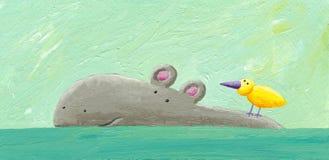 Lustiges Flusspferd und Vogel Stockfotos
