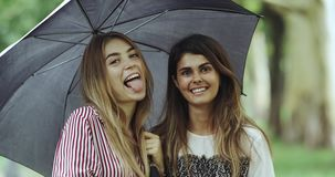 Lustiges Gefühl junger Frau zwei unter dem Regenschirm, der gerade zur Kamera, großes Lächeln schaut stock video