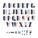 Lustiges geometrisches Alphabet für Plakat oder Logo, Vektorillustration Lizenzfreie Stockfotografie
