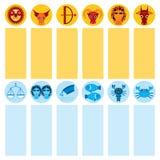 Lustiges gesetztes astrologisches der blauen und orange Sternzeichenikone, Vektor Stockbild