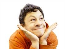 Lustiges Gesicht mit großer Wekzeugspritze Stockfoto