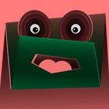 Lustiges grünes Monster der Vektorkarikatur Stockfoto