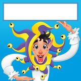 Lustiges Jocker, das mit weißem Rahmen lächelt Stockfotos