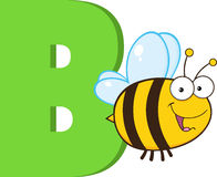 Lustiges Karikatur-Alphabet-b mit Biene Stockbild