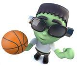 lustiges Karikatur 3d Halloween-frankenstein Monster, das einen Basketball hält Lizenzfreie Stockfotos