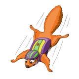 Lustiges Karikatureichhörnchen-Charakterbasisspringen lizenzfreie abbildung