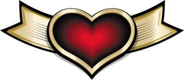 Lustiges Karikaturgoldglänzende Fahne mit rotem purpurrotem Herzen Lizenzfreie Stockfotografie