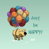 Lustiges Karikaturhundefliegen mit Ballonen Lizenzfreie Stockfotos