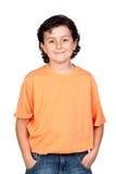 Lustiges Kind mit orange T-Shirt Stockbild