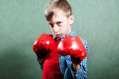 Lustiges kleines Kind mit Boxerhandschuhen das Schauen kämpfend gefährlich Stockbilder