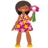 Lustiges kleines Mädchen mit Blumen Stockbilder