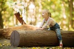 Lustiges kleines Mädchen mit Down-Syndrom, das auf einem großen Klotz sitzt lizenzfreie stockfotografie