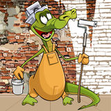 Lustiges Krokodil der Zeichentrickfilm-Figur in der Kleidung eines Malergipsers lizenzfreie abbildung