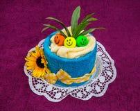Lustiges Kuchengeschenk des Tuches Stockfotos
