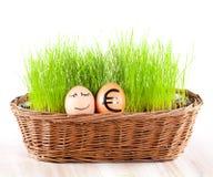 Lustiges lächelndes Ei mit goldenem Euroei im Korb mit Gras. Stockfotografie