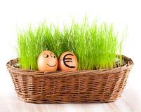 Lustiges lächelndes Ei mit goldenem Euroei im Korb mit Gras. Lizenzfreie Stockfotografie