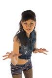 Lustiges Mädchen im Jeanshemd Lizenzfreies Stockfoto