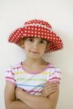 Lustiges Mädchen im Punktrot Panama Stockbilder