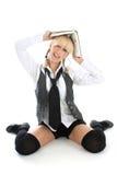 Lustiges Mädchen mit Buch Lizenzfreies Stockbild