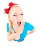 Lustiges Mädchen mit dem Daumen oben lizenzfreies stockfoto
