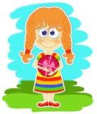 Lustiges Mädchen und Geschenk Lizenzfreies Stockfoto