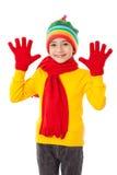 Lustiges Mädchen in der Winterkleidung Lizenzfreie Stockfotos