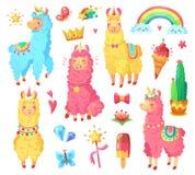 Lustiges mexikanisches lächelndes Alpaka mit flaumiger Wolle und nettem Regenbogenlamaeinhorn Magiehaustierkarikatur-Illustration lizenzfreie abbildung
