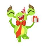 Lustiges Monster an der Geburtstagsfeier mit Fliege und Geschenk, grüner Ausländer Emoji-Zeichentrickfilm-Figur-Aufkleber Stockbild