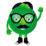 Lustiges Monster des Vektors mit dem Schnurrbart und den Gläsern Lizenzfreies Stockfoto